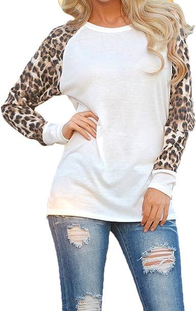 ISSHE Camisetas Cuello Redondo Manga Larga Mujer Camiseta Interior para Dama Camisas Estampadas Camisa Leopardo Top Chica Blusas Bonitas Señora Remera Remera de Manga Larga Blusones Sudaderas: Amazon.es: Ropa y accesorios