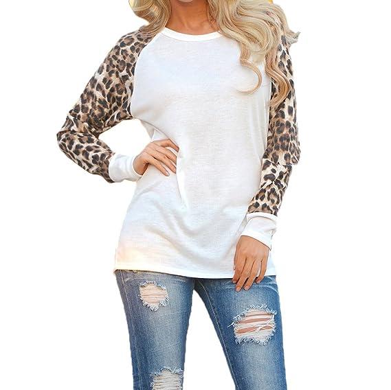Camisetas Cuello Redondo Manga Larga Mujer Camiseta Interior para Dama Camisas Estampadas Camisa Leopardo Top Chica