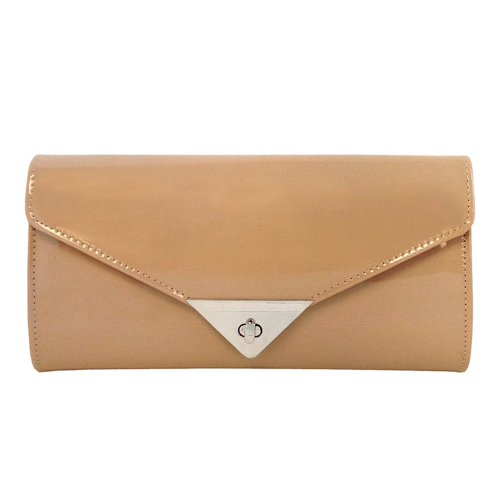 JNB Women's Patent Leather Candy Clutch, Taupe