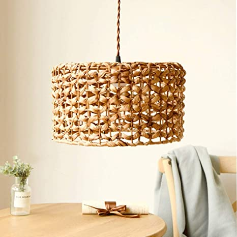 Amazon Com Geometric Rattan Chandelier Light Retro Solid Wood Decorative Farmhouse Dining Room Light Simple Modern Country Kitchen Living Room Bedroom Small Island Lights Flush Mount Ceiling Light With Wire Home Improvement