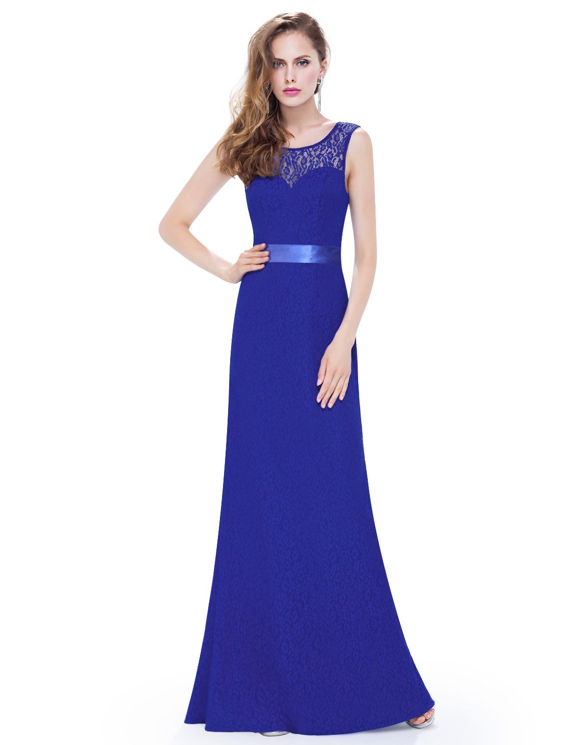 Ever-Pretty Womens Illusion Neckline Long Sleeveless Sexy V-Neck Back Military Ball Dress 14 US Saphire Blue