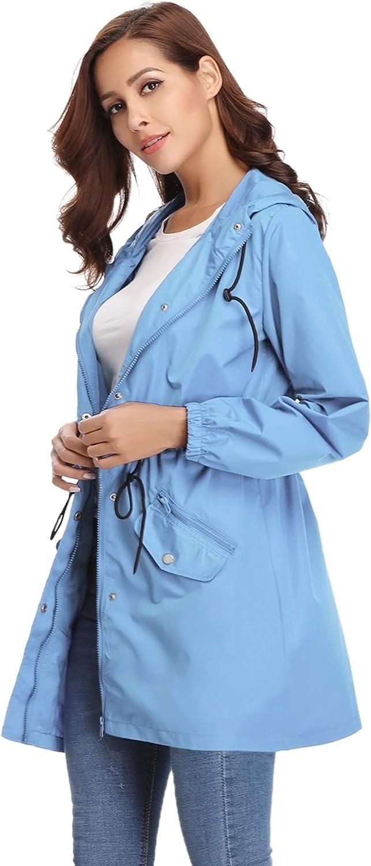Chiusura a Lampo per Primavera Estate Autunno Abollria Giacca Donna Impermeabile Cappotto Casual Antipioggia Giacche a Vento con Cappuccio e Tasche Comode
