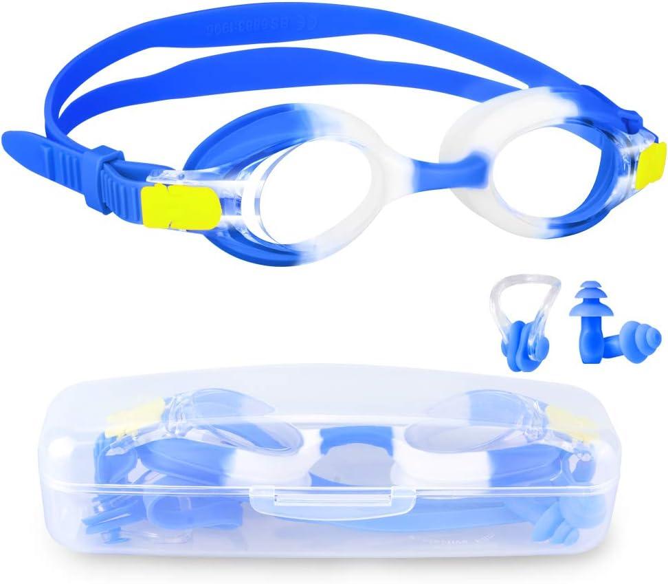 Oziral Kids Swimming Goggles Swim Goggles for Junior Children Girls Boys Anti-fog UV Protection Swimming Glass with Case Nose Clip Earplugs