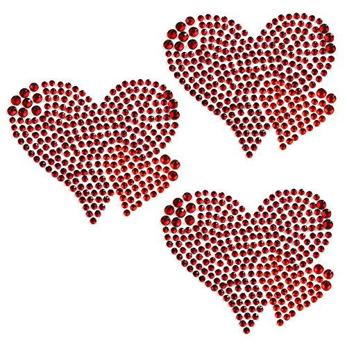 Sticker Bling Bling Gemz Crystal Rhinestone Red Hearts 3-Pack