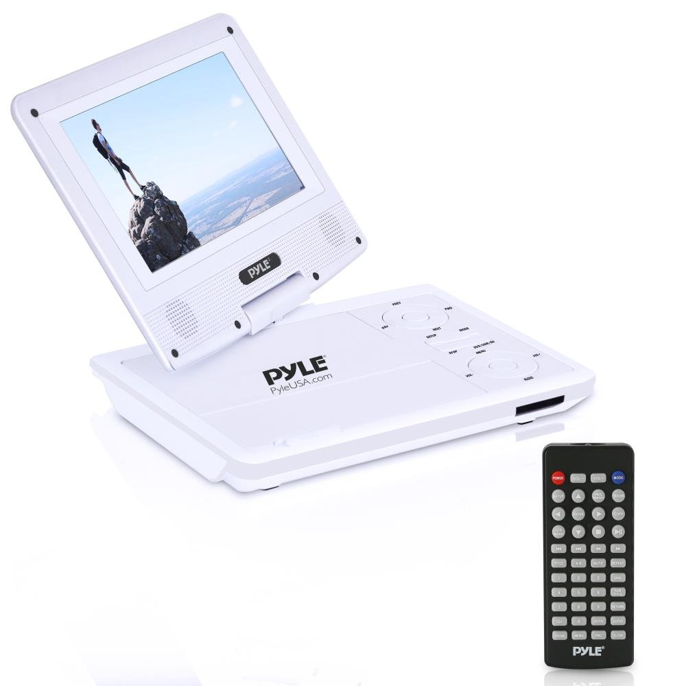 Upgraded Pyle 7 Inch Portable Travel DVD Player, Car Headrest CD DVD Player, Portable Battery, USB/SD, Headphone Jack, Includes Wireless Remote Control, Car Charger, Travel Bag, White (PDV71WT)