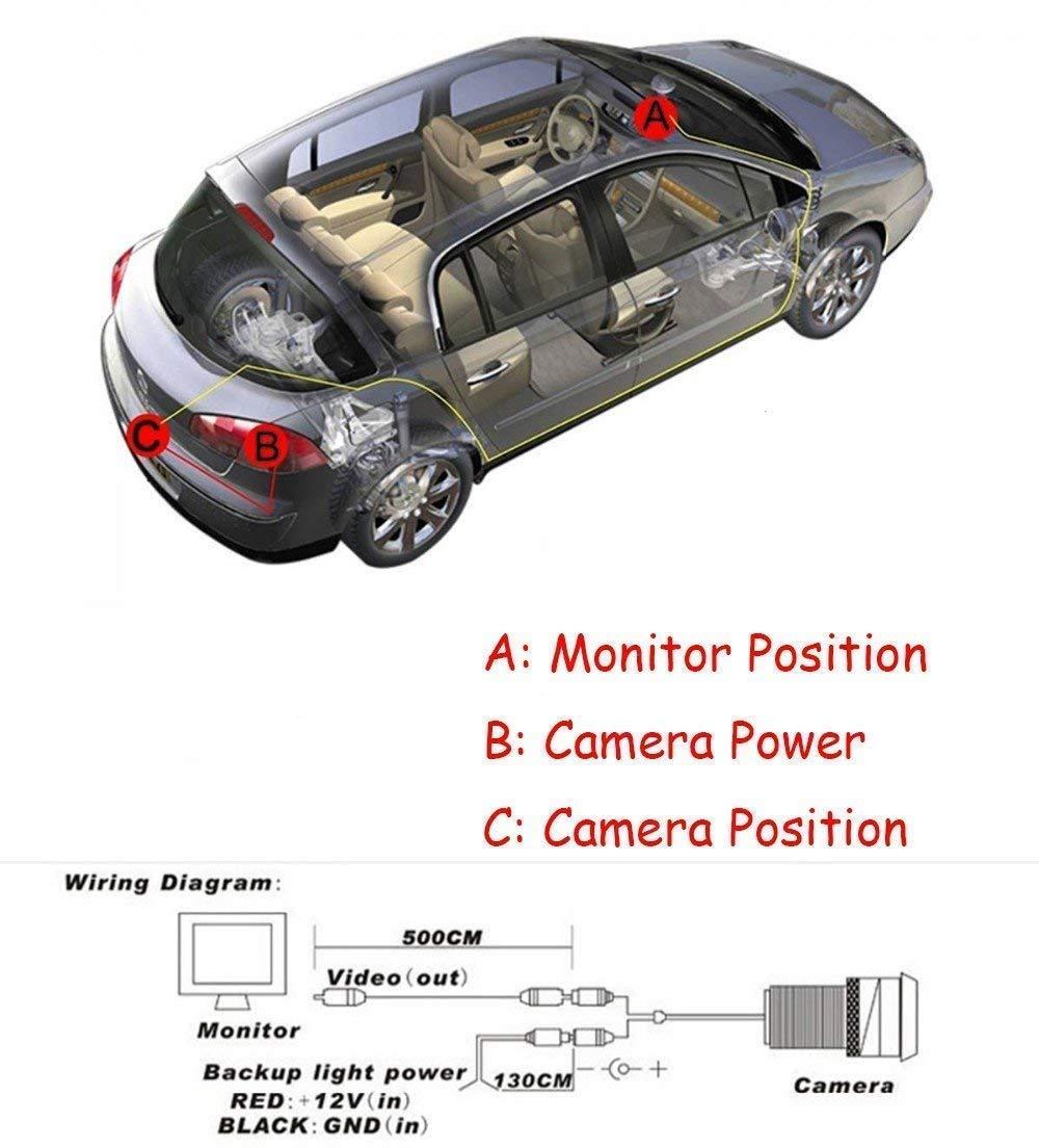Fabtec Led Night Vision Waterproof Car Rear View Electronics Vga Monitor Cable Wiring Diagram On For Backup Camera