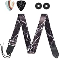 Guitar Strap,LIZIMANDU Guitar Strap with Leather End Length Adjustable 2 Pick Holders & 2 Matching Picks For Electric Guitar, Acoustic Guitar and Bass - Unique Guitarist(1-Black Marble)