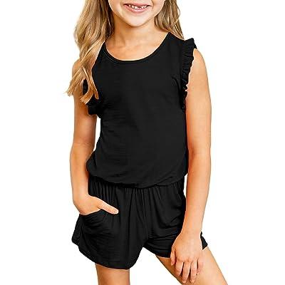 GOSOPIN Girls Sleeveless Floral Straps Romper Shorts Jumpsuits