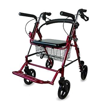 Mobiclinic, Andador para Ancianos, Aluminio, Plegable, Frenos en manetas, Asiento y Respaldo, 4 Ruedas, Burdeos, Colón