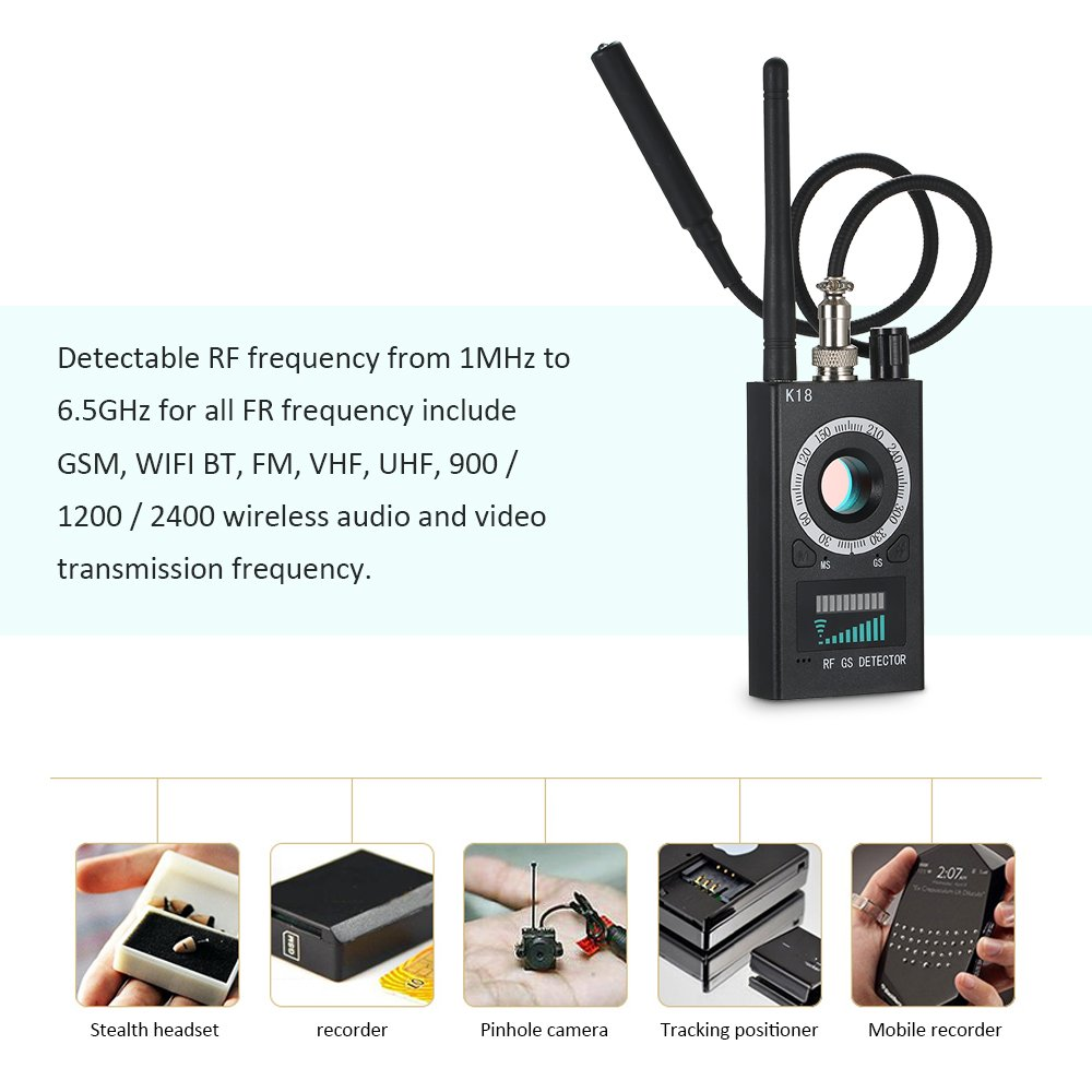 Amazon.com: Signal Detector, KKmoon Anti-spy Detector K18 Camera GSM Audio Bug Finder GPS Signal Lens RF Tracker: Industrial & Scientific