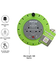 Pifco 2 Way UK 3Pin Plug 10amp Extension Reel with 10 Metre Heavy-Duty Winding Cable and Safety Cut Out Switch -  Black