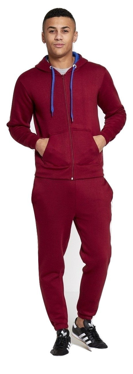 Mens Contrast Tracksuit Hoody and Jogset Size Small to 5XL Momo Fashions