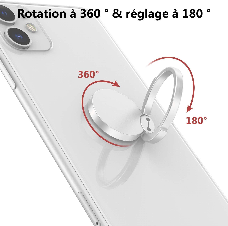 Bague Support T/él/éphone pour iPhone,Samsung,LG Huawei XiaoMi,Sony,Tous Les t/él/éphones et tablettes 2 Pack Ossky Anneau Support T/él/éphone avec Rotation /à 360 Degr/és