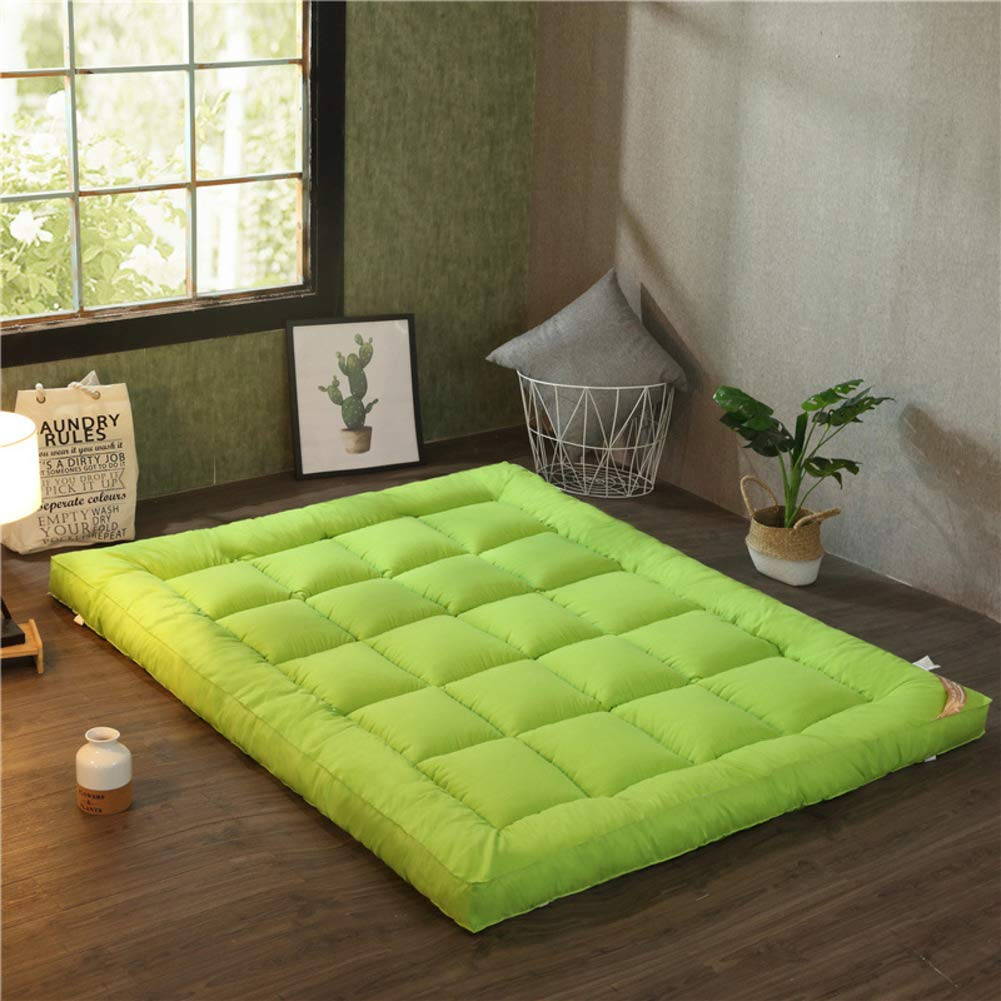 Green 135x200cm(53x79inch) Fluffy Sleep Mattress, Bed Mattress Topper, Soft Comfortable Double Thick Tatami Floor mat Japanese futon mat Roll up Bed pad-Green 135x200cm(53x79inch)