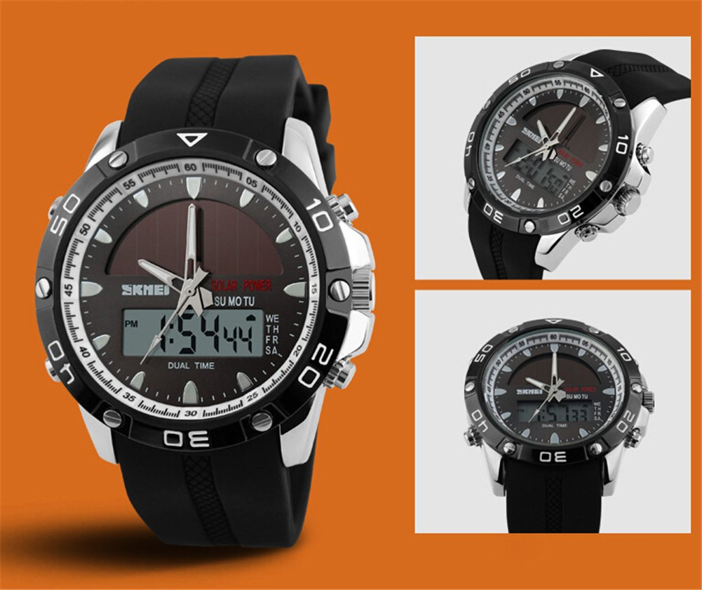 Auspicious beginning Multifunction digital LED solar & electronic powered sport watches, silver