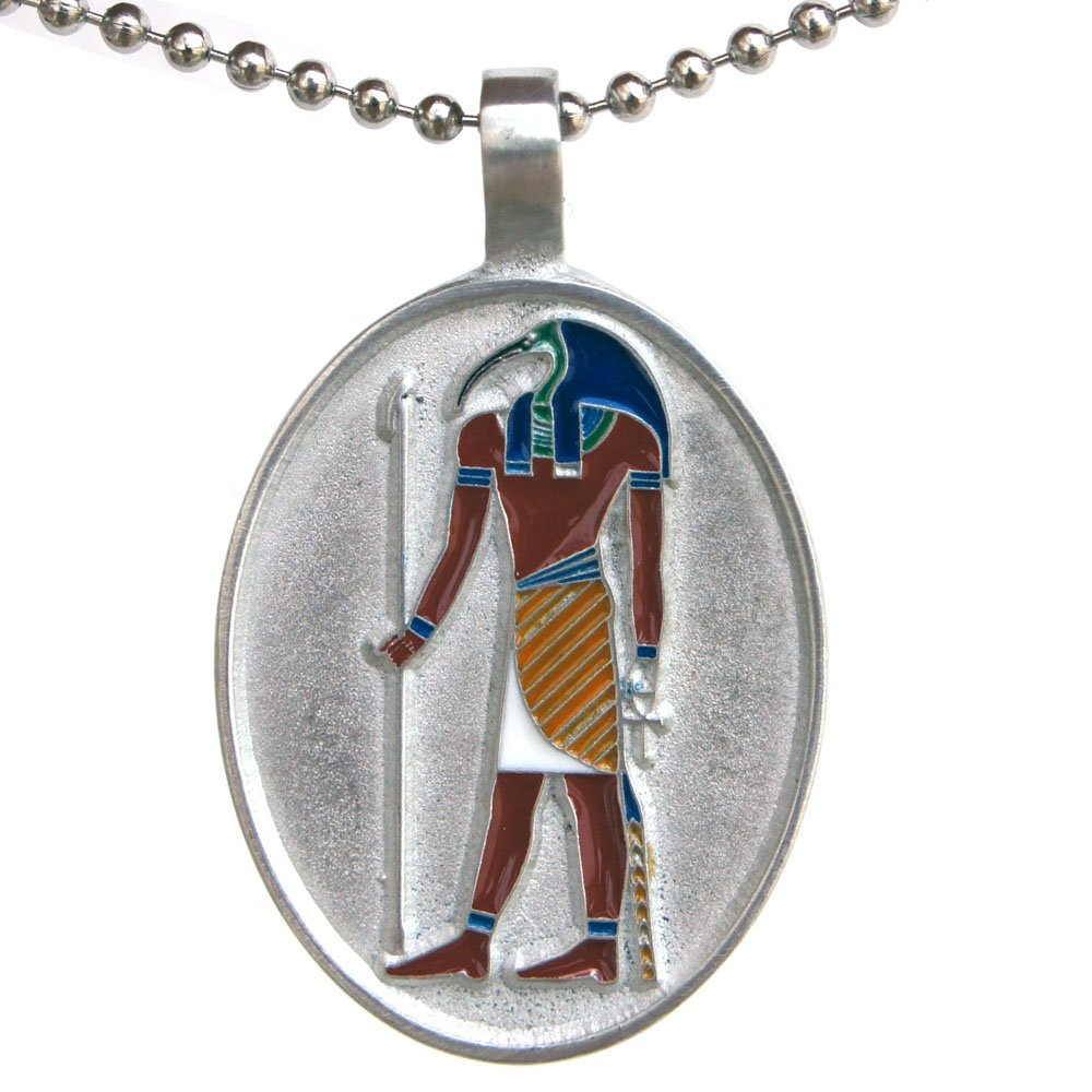 OhDeal4U Egyptian Deity Thoth Djehuti God Pewter Pendant w Silver Iron Ball Chain