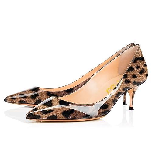 c8a98374e FSJ Women Sexy Leopard Snake Animal Prints Shoes Pointed Toe Kitten Low  Heels Dress Pumps 4