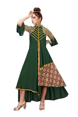 537d4d9b8a Dessa Collections Indian Women Designer Partywear Ethnic Neavy Dark Green  Readymade Kurti.