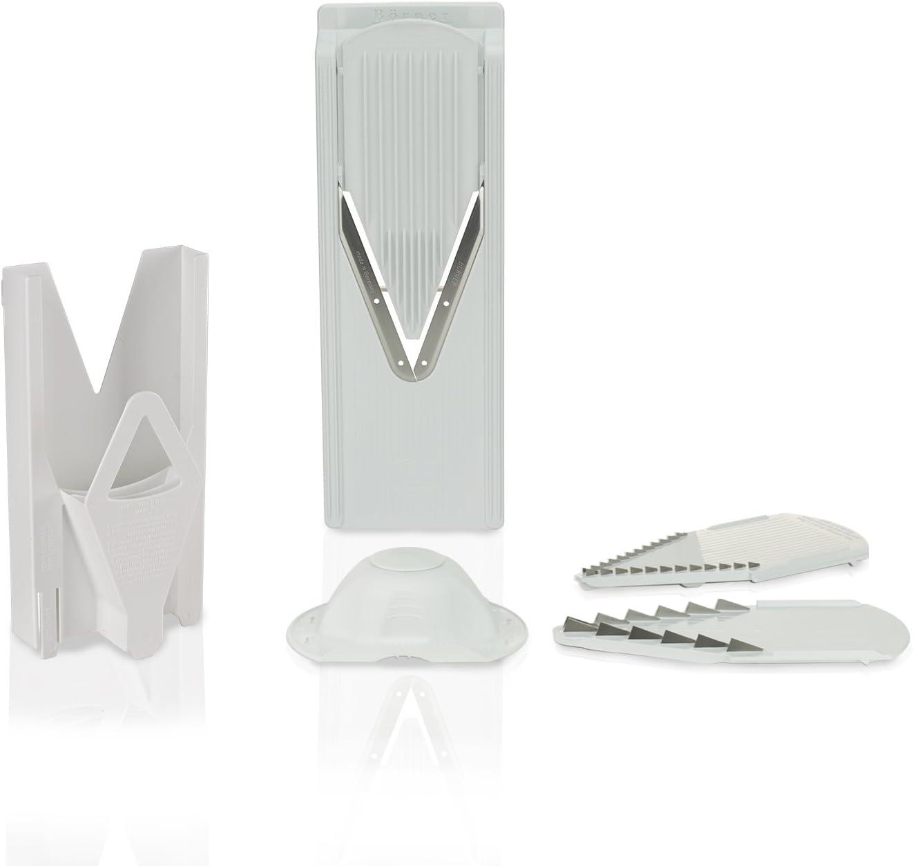 Original Borner V3 TrendLine fruit- and vegetable slicer (including slide insert and blade inserts 3,5mm and 7mm) with safety food holder and multi-box for storage. (White)
