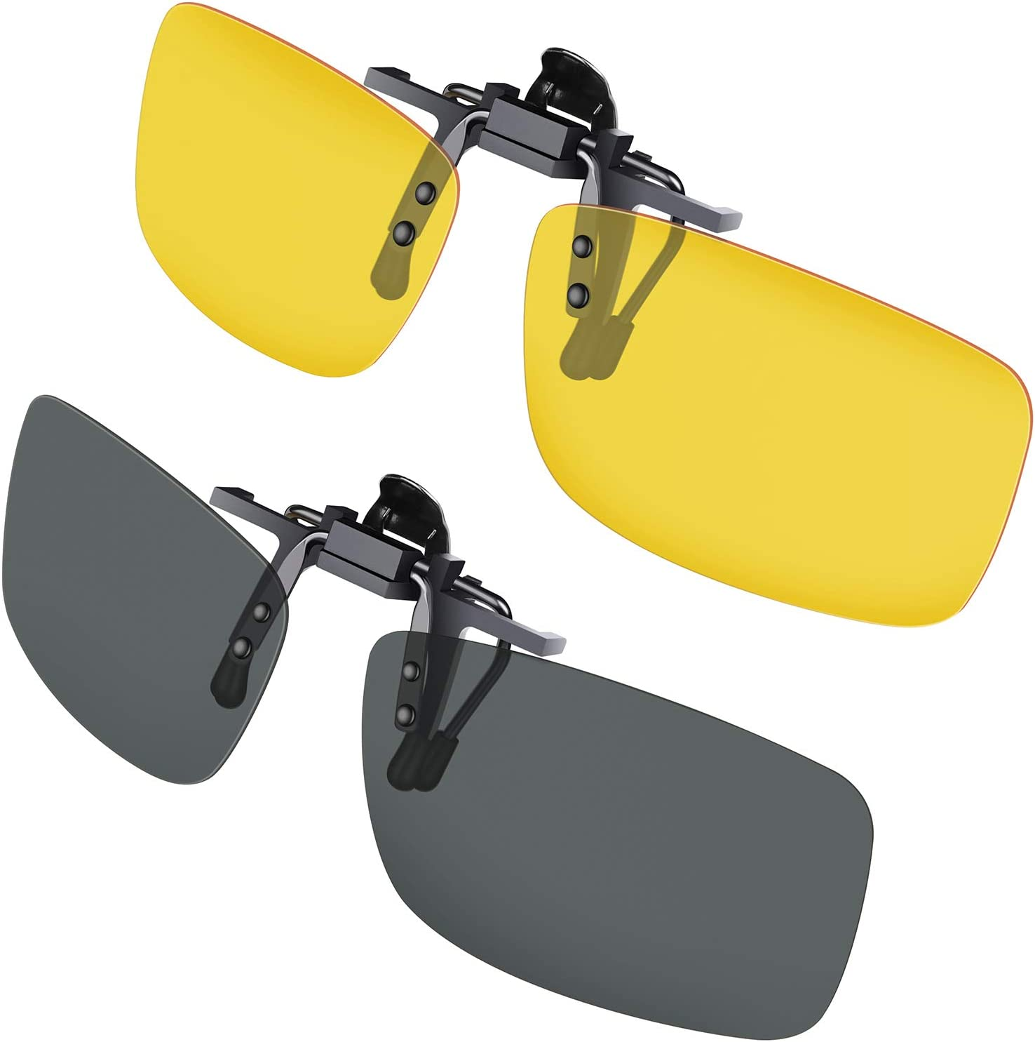 Gafas de sol con clip, Gritin [2 unidades/día + noche visión] Gafas de sol polarizadas UV400 para hombre y mujer, ajuste cómodo y seguro sobre gafas de sol para conducción y al aire libre