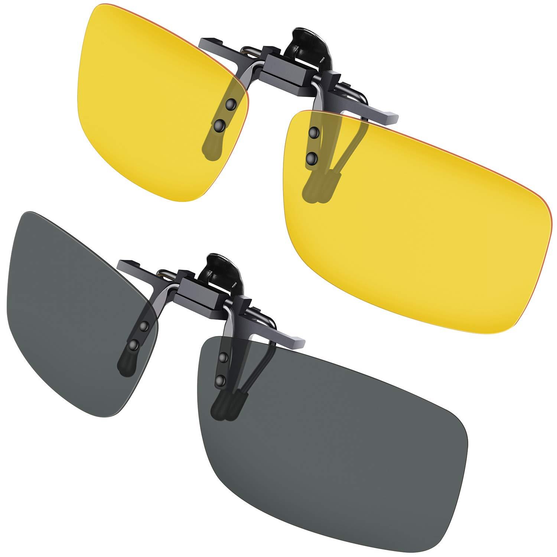 Gafas de sol con clip, Gritin [2 unidades/día + noche visión ...