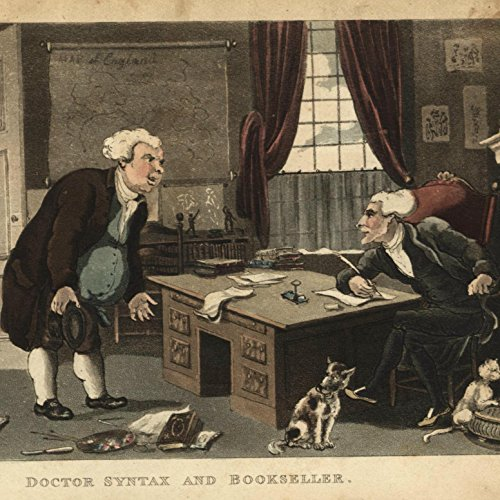 Bookseller Book dealer 1820 Rowlandson aquatint old color Ackermann print cat