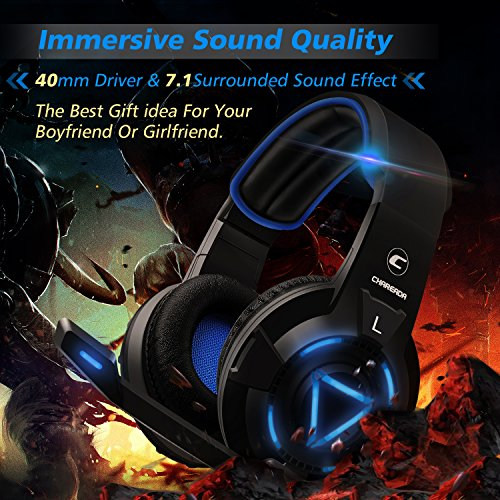 [2018Newest]Gaming Headset for Xbox One, Best 7.1 Surround Sound Headsets Multi-function Controller for PS4,PS3,Xbox 360,Nintendo Switch,PC, Headphones with LED Lights and Noise Canceling Microphone