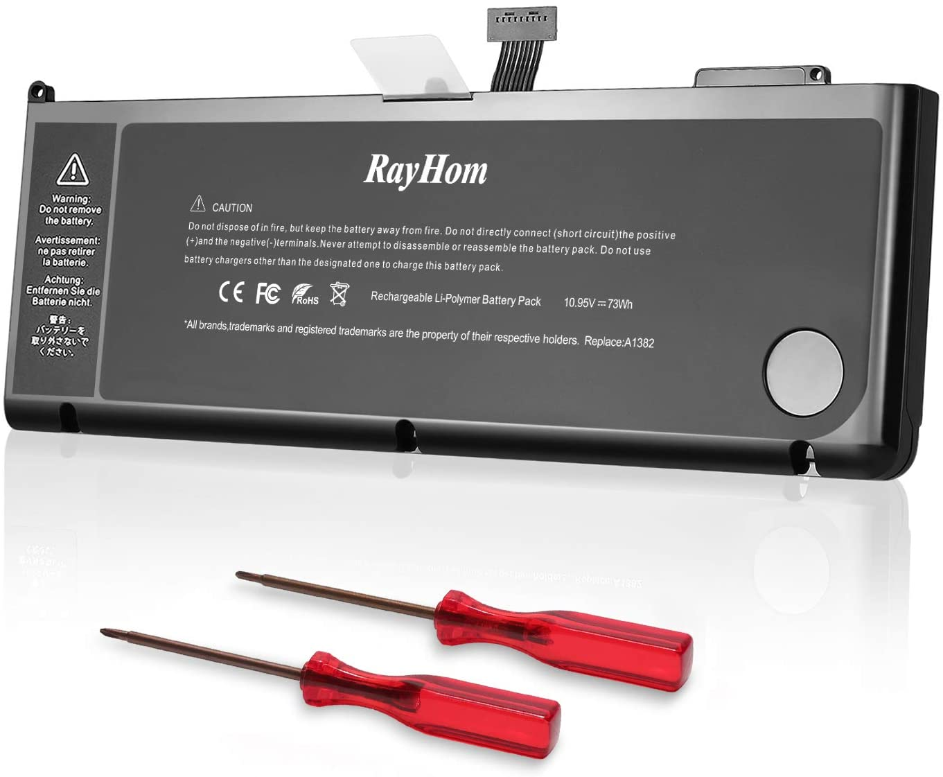 RayHom A1382 A1286 Battery Compatiblefor Early 2011 Late 2011 Mid 2012 MacBook Pro 15 inch Core i7