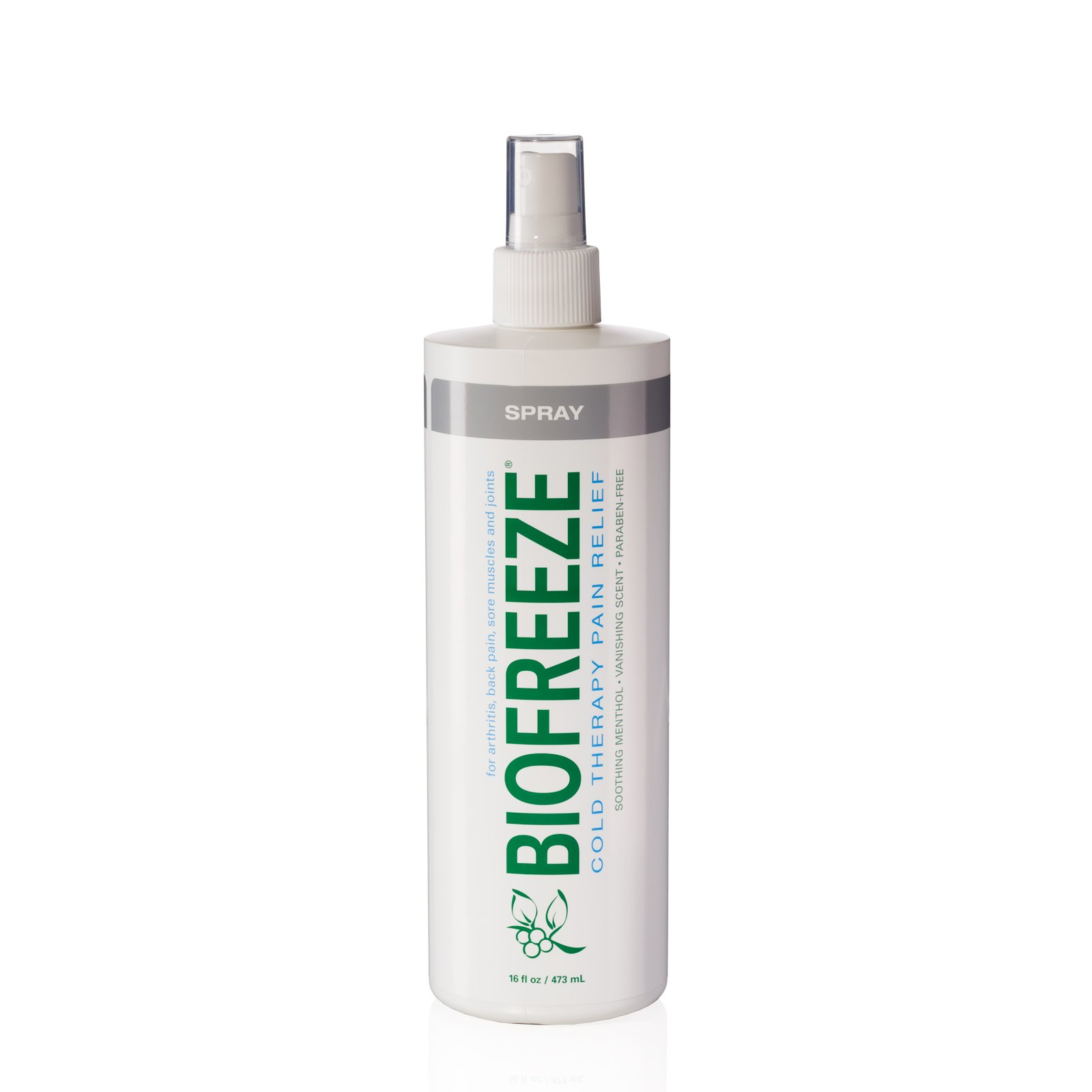 Biofreeze Pain Relief Spray for Arthritis, 16 oz. Bottle with Pump, Fast Acting Cooling Pain Reliever for Muscle, Joint, & Back Pain, Cold Topical Analgesic with Colorless Formula, 10.5% Menthol by Biofreeze