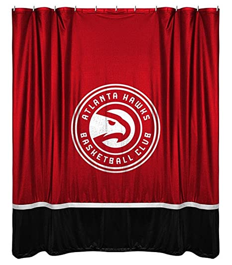 Amazon NBA Atlanta Hawks Shower Curtain 72 X Bright Red