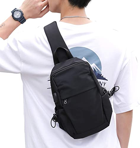 Small Black Sling Crossbody Backpack Shoulder Bag