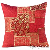 Eyes of India - 16'' Burgundy Red Silk Brocade Decorative Pillow Cushion Cover Throw Sofa Couch Indian Colorful Boho Seating BohemianCover Only