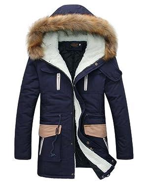 Friendshop Men's Winter Fur Hood Trench Coat Slim Fit Fleece Wool Long Jacket