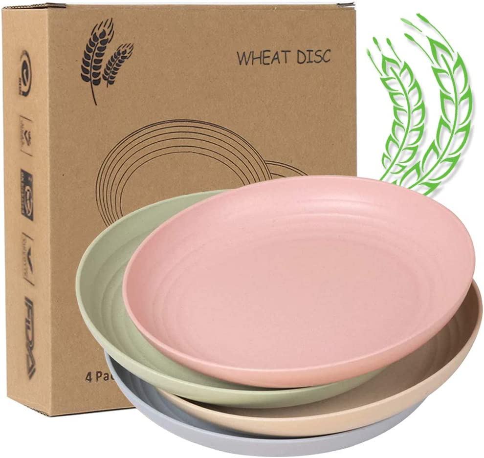 9 Inch Wheat Straw Plates Set of 4, Lightweight Wheat Straw Plates BPA free Microwave Safe Dinner Plates for Children Adult