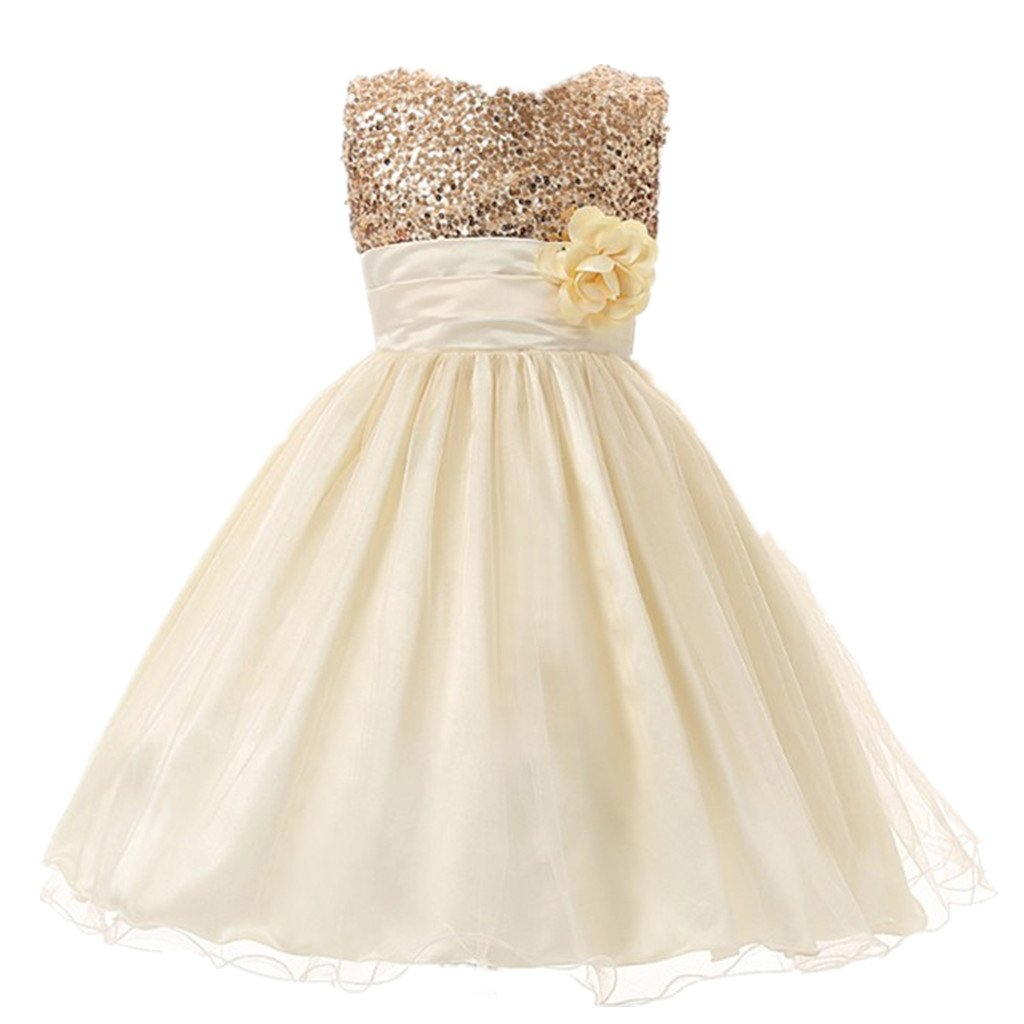M2C Little Girls Sequin Flower Wedding Dress Ball Gown Party Girl Dresses, 4T, Gold