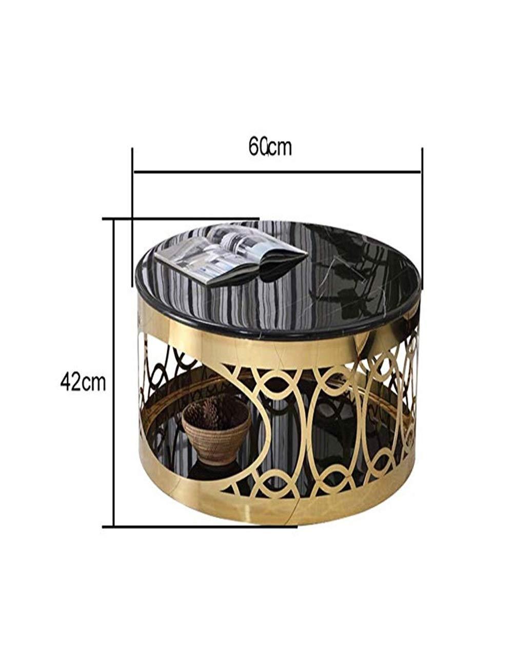 Amazon.com: Mesa de café redonda de lujo, material de mármol ...