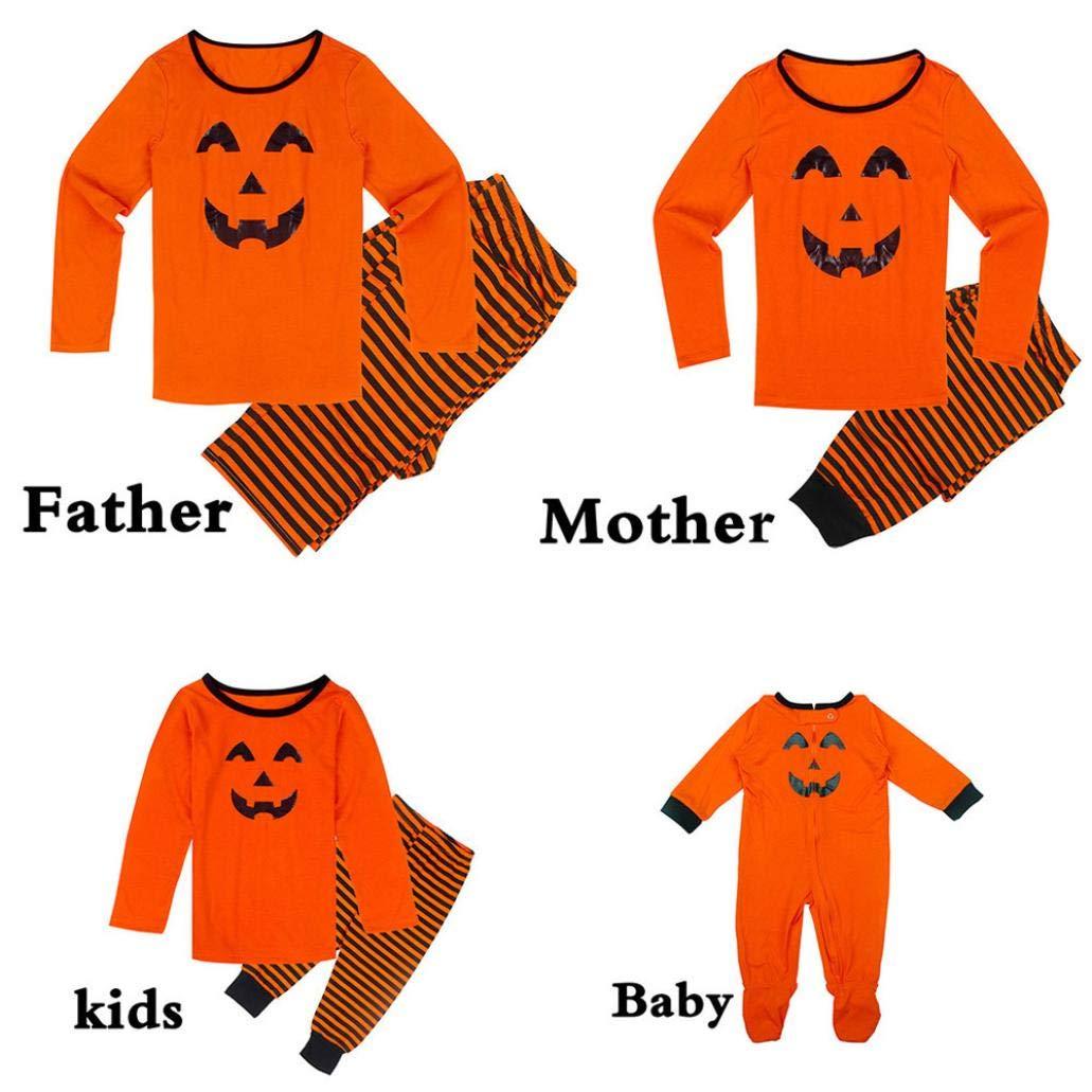 DEELIN Halloween Padre E Hijo De ImpresióN De Calabaza De Manga Larga Servicio A Domicilio CóModo Pijamas Sueltos Traje De Chaqueta + Pantalones A ...