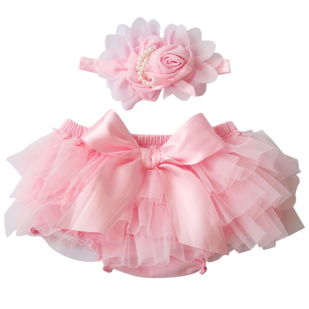 BOBORA Baby Infant Chiffon Ruffle Bloomers Pants Bowknot + Flower Headband Photography Prop Custume BON-N-0411