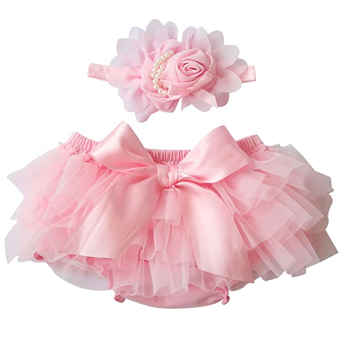 Timall Baby Girls PP Pants Ruffle Skirt Nappy Shorts Culotte & Flower Headdress