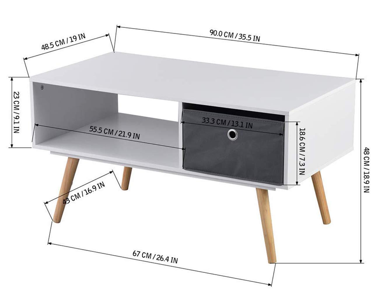 90 x 48 x 47 cm Blanc ASUUNY Table Basse Moderne 2 ...