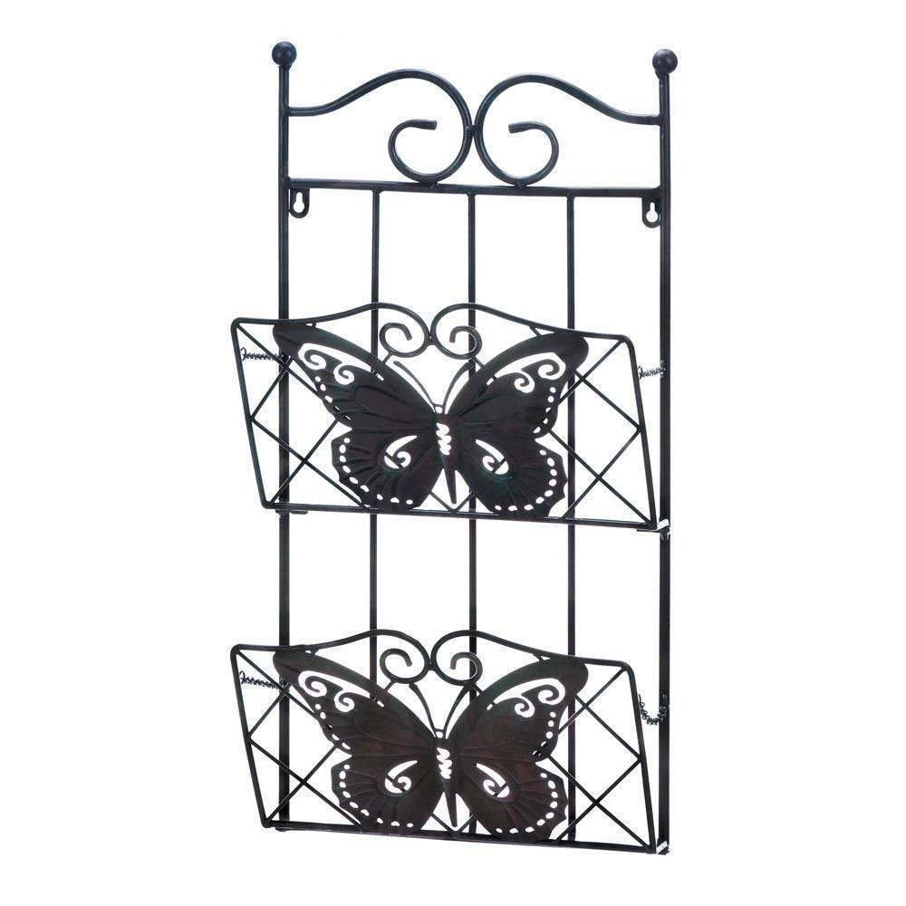 2-Tier Pocket Butterfly Magazine Wall Organizer Rack