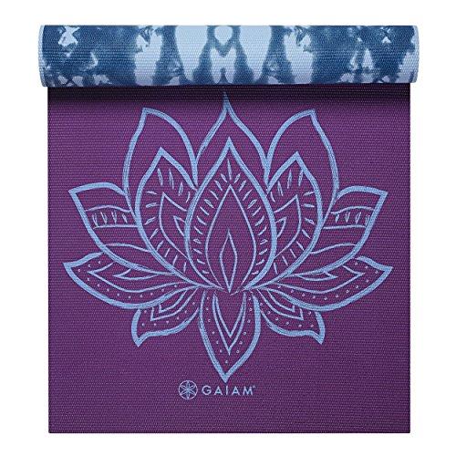 Gaiam Premium Print Reversible Yoga Mat Purple Lotus 5mm