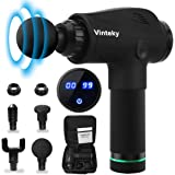Vinteky Massage Gun-Deep Tissue Muscle Massage Gun-24V Powerful 6 Speeds Vibration Percussion Muscle Massager-Electric Cordless Touch Screen Percussive Therapy Device-4 Massage Heads Professional Massager for Pain Relief-Full Body Recovery AU Plug
