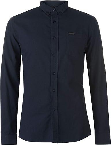 Firetrap - Camiseta básica Oxford para hombre, manga larga, cuello de cierre