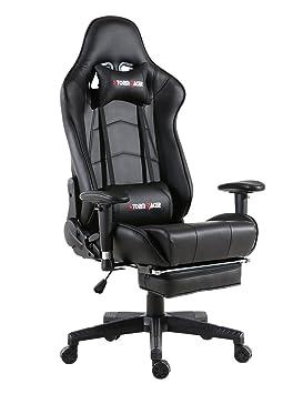 Storm Racer ergonómico Gaming Chair Silla de Respaldo Alto Silla de Oficina con reposapiés Ajuste reposacabezas y Apoyo Lumbar Silla de Racing (Nergo-s): ...
