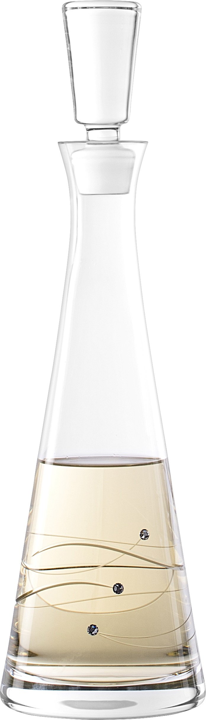 Barski - Handmade Glass - Sparkle - Tall Wine Decanter - Decorated with Real Swarovski Diamonds - Gift Boxed - 33 oz. - Made in Europe