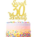 Personalised Happy 30th Birthday Cake Topper - Custom with Any Name and with Any Age - Multicolours Double Sided 400 Gram Glitter Card