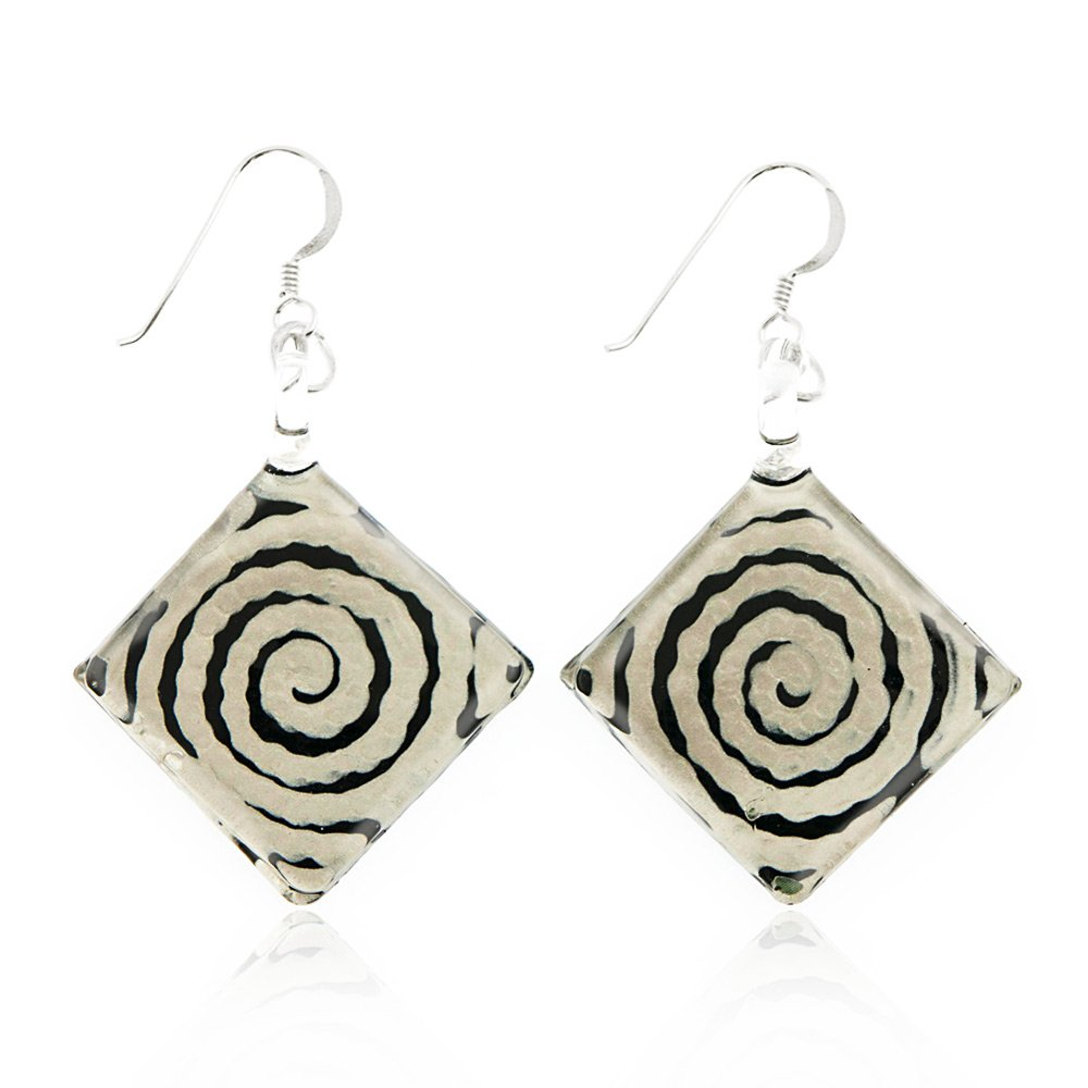"""Sterling Silver Hand Painted Murano Glass Black White Circle Swirl Square Dangle Hook Earrings 2"""""""