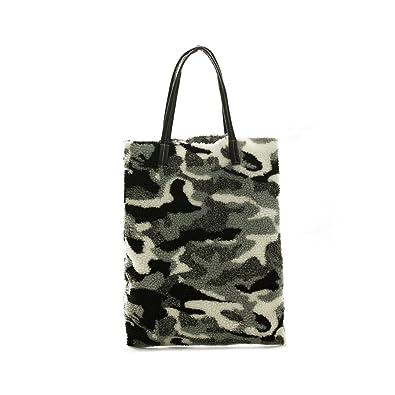 b9b8a65491 Zarapack Women s Faux Fur Lamb Wool Tote Shopping Bag Shoulder Bag (Black)