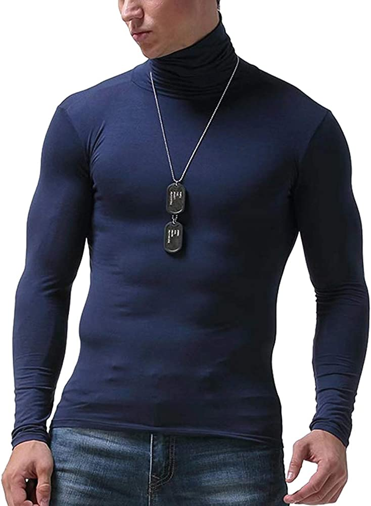 DOSWODE Men Turtleneck Shirts Casual Slim Fit Basic Tops Thermal Pullover Tops